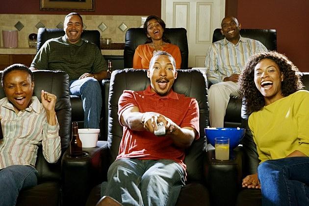 People watching movie